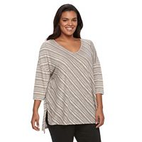 Plus Size SONOMA Goods for Life™ Striped Drop-Shoulder Top