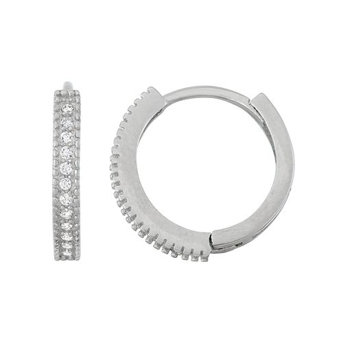 Junior Jewels Kids' Sterling Silver Cubic Zirconia Hoop Earrings