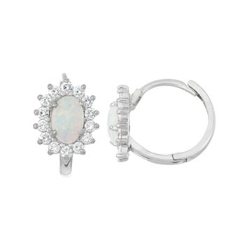 Junior Jewels Kids' Sterling Silver Lab-Created Opal Flower Hoop Earrings