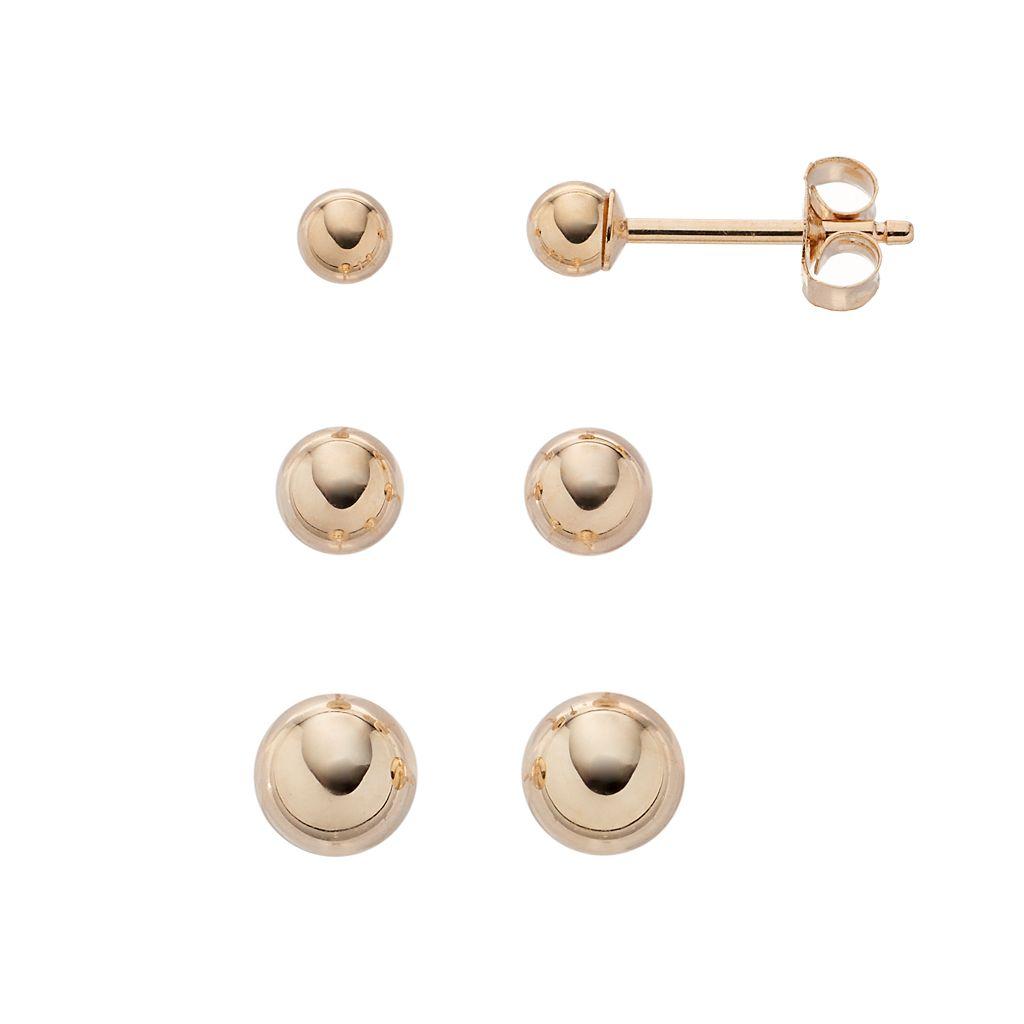 Taylor Grace 10k Gold Ball Stud Earring Set