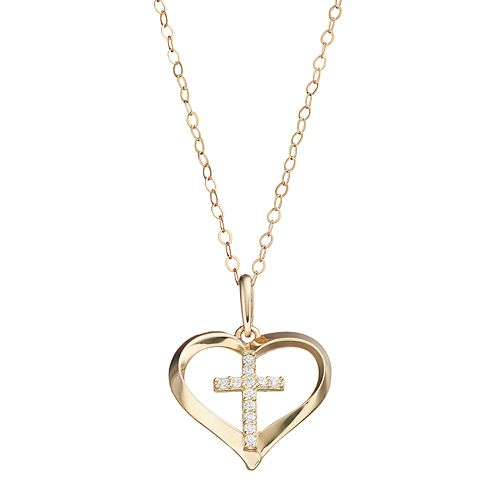 10k Gold Cubic Zirconia Cross & Heart Pendant Necklace