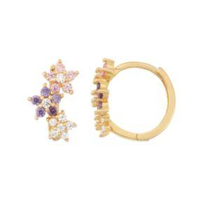 Junior Jewels Kids' 14k Gold Over Silver Cubic Zirconia Flower Hoop Earrings