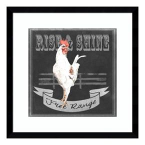 Chalkboard Farm Animals II Rooster Framed Wall Art