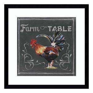 Chalkboard Farm Animals III Rooster Framed Wall Art
