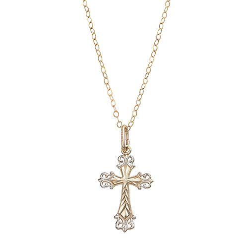 Two Tone 10k Gold Filigree Cross Pendant Necklace