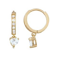 Junior Jewels Kids' 14k Gold Over Silver Cubic Zirconia Heart Hoop Drop Earrings