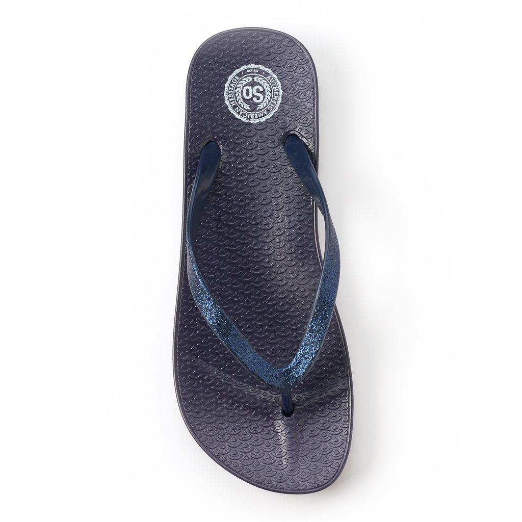 SO® Women's Glitter Flip-Flops