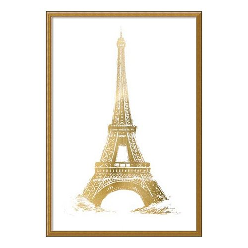 Eiffel Tower Metallic Print Framed Wall Art