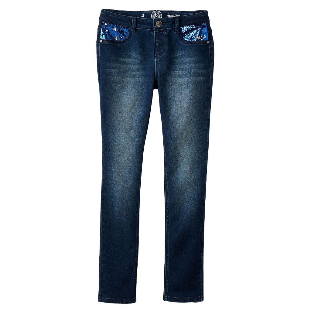 Girls 7-16 & Plus Size SO® Embellished Sequin Pocket Stretchy Jeggings
