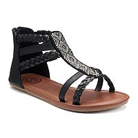 SO® Girls' Braids & Studs Gladiator Sandals