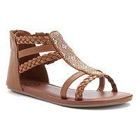 SO® Girls' Braids & Studs Gladiator Sandals