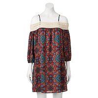 Juniors' Trixxi Crochet Off The Shoulder Dress