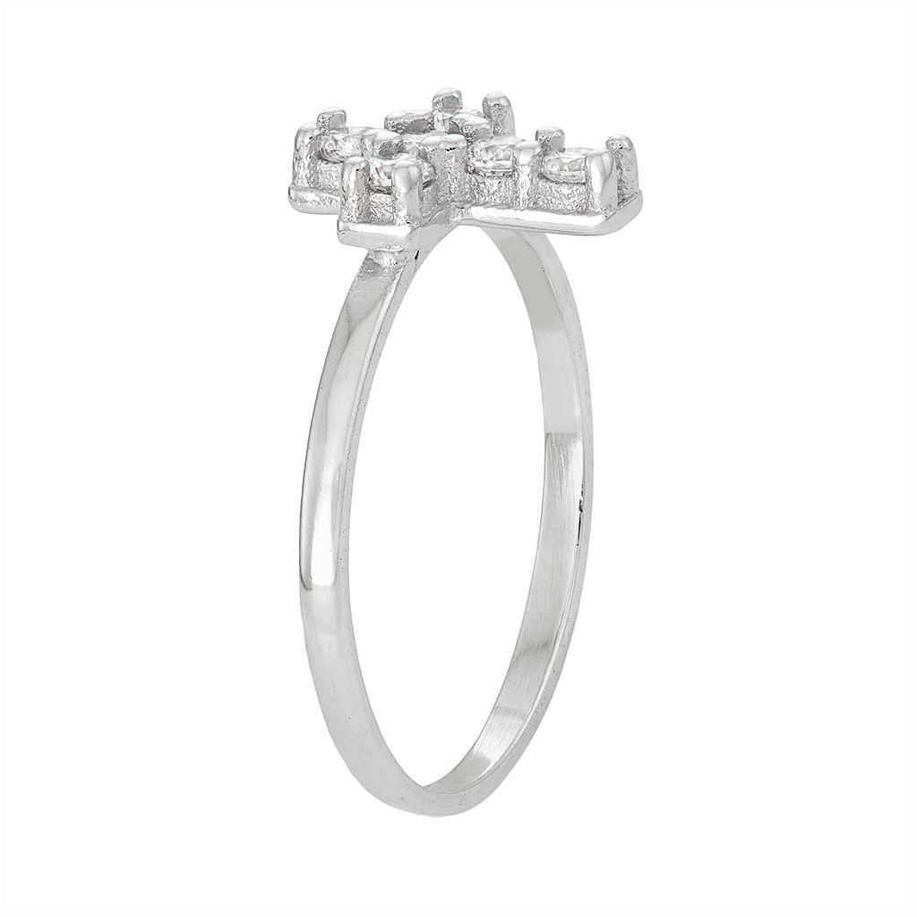 Junior Jewels Kids' Sterling Silver Cubic Zirconia Cross Ring