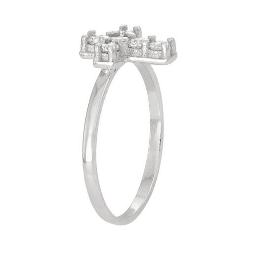 Junior Jewels Kids' Sterling Silver Cubic Zirconia Cross Ring