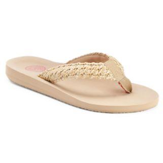 SO® Women's Straw Weave Thong Flip-Flops