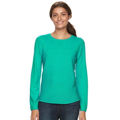 Women's Croft & Barrow® Cozy Ribbed Crewneck Sweater