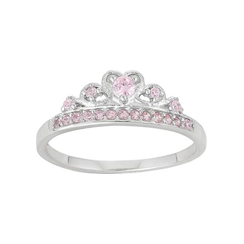 Junior Jewels Kids' Sterling Silver Cubic Zirconia Crown Ring