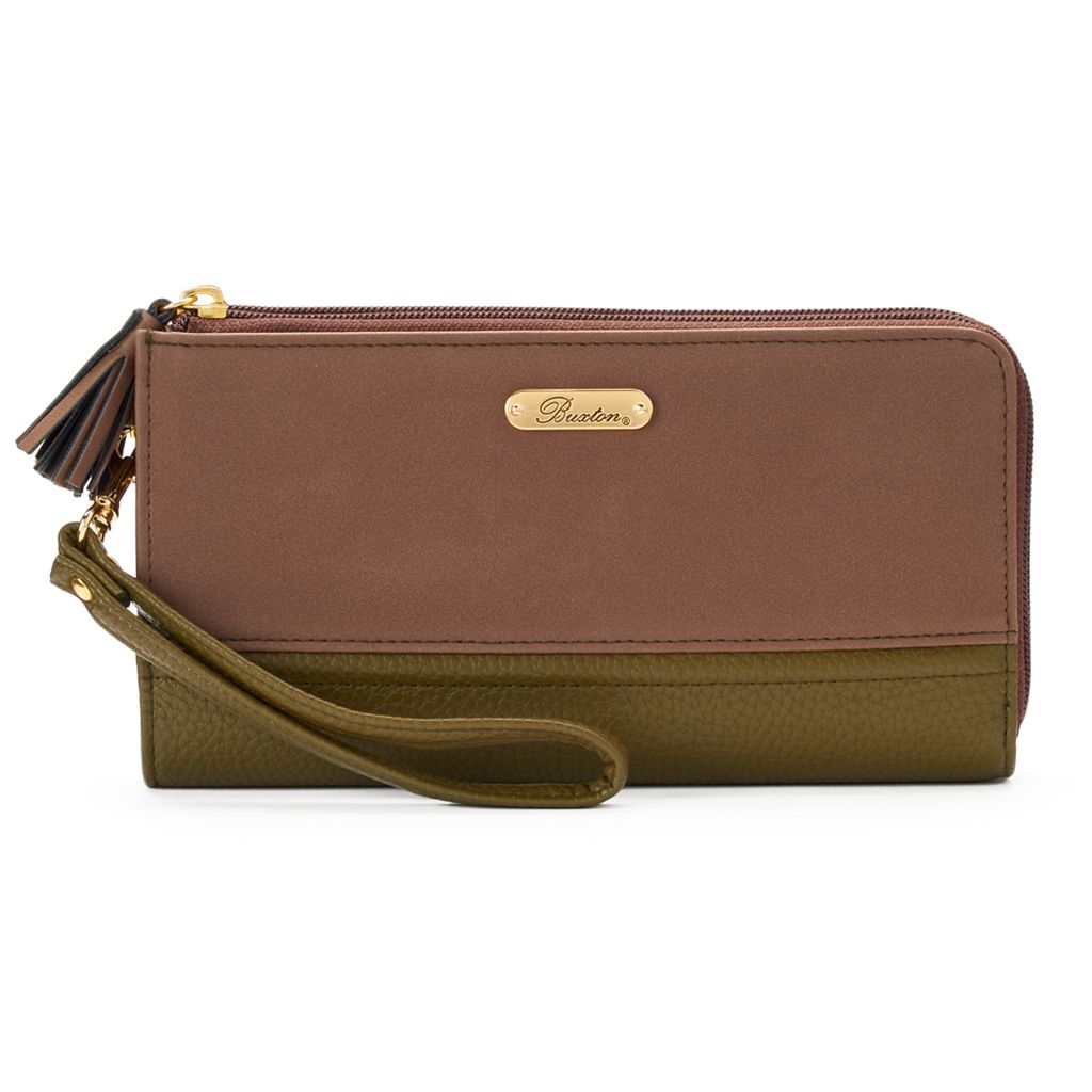 Buxton Touch of Suede Double L-Zip Wallet