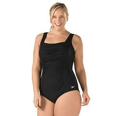 Plus Size Speedo Shirred One-Piece Swimsuit