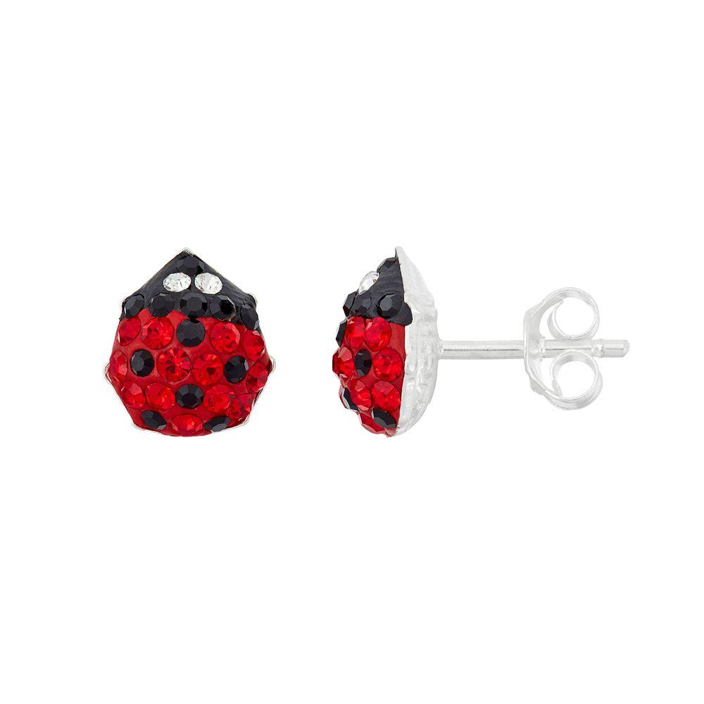 Junior Jewels Kids' Sterling Silver Crystal Ladybug Earrings