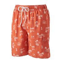 Men's Croft & Barrow® Palm Tree Microfiber Swim Trunks