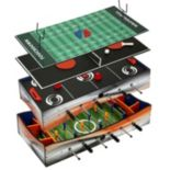 Hathaway Revolver 4-in-1 Multi-Game Glide Hockey, Table Tennis, Finger Football & Foosball Table
