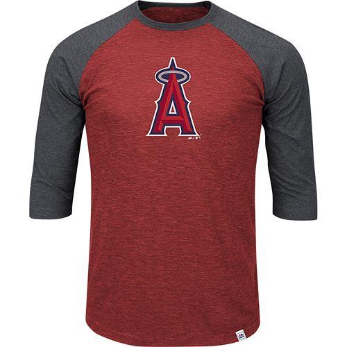Men's Majestic Los Angeles Angels of Anaheim Grueling Ordeal Raglan Tee