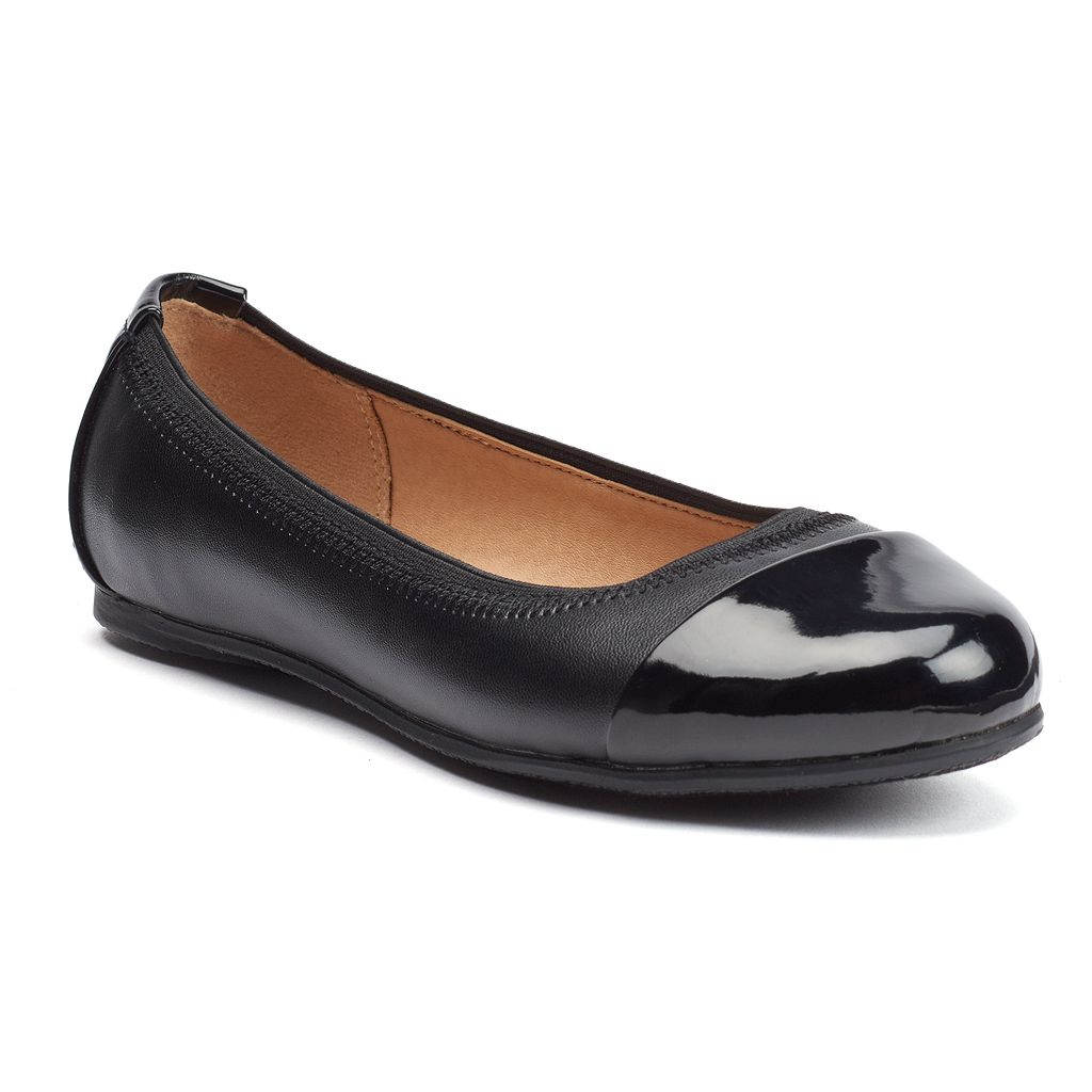 SO® Girls' Cap-Toe Ballet Flats