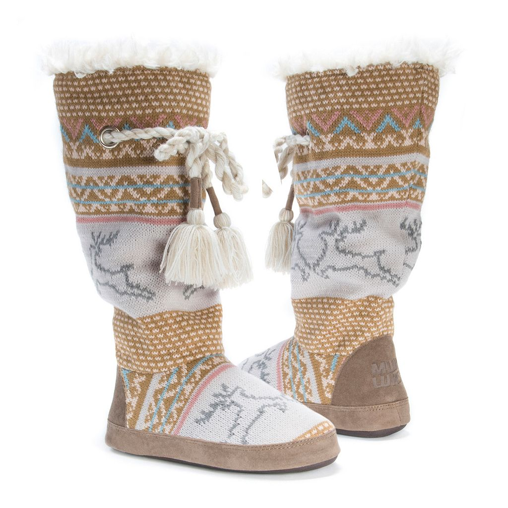 MUK LUKS Women's Knit Tassel Boot Slippers