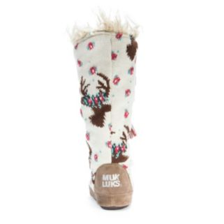 MUK LUKS Women's Reindeer Tassel Boot Slippers