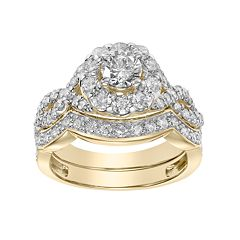 Simply Vera Vera Wang 14k Gold 2 Carat T.W. Diamond Halo Engagement Ring Set