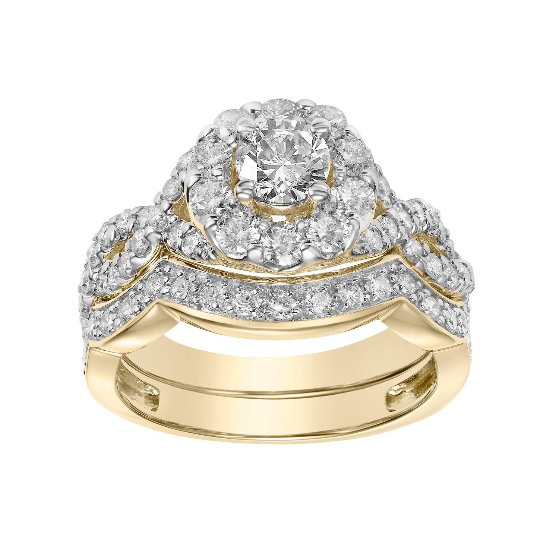 Simply Vera Vera Wang 14k Gold 2 Carat T.W. Diamond Halo Engagement Ring Set