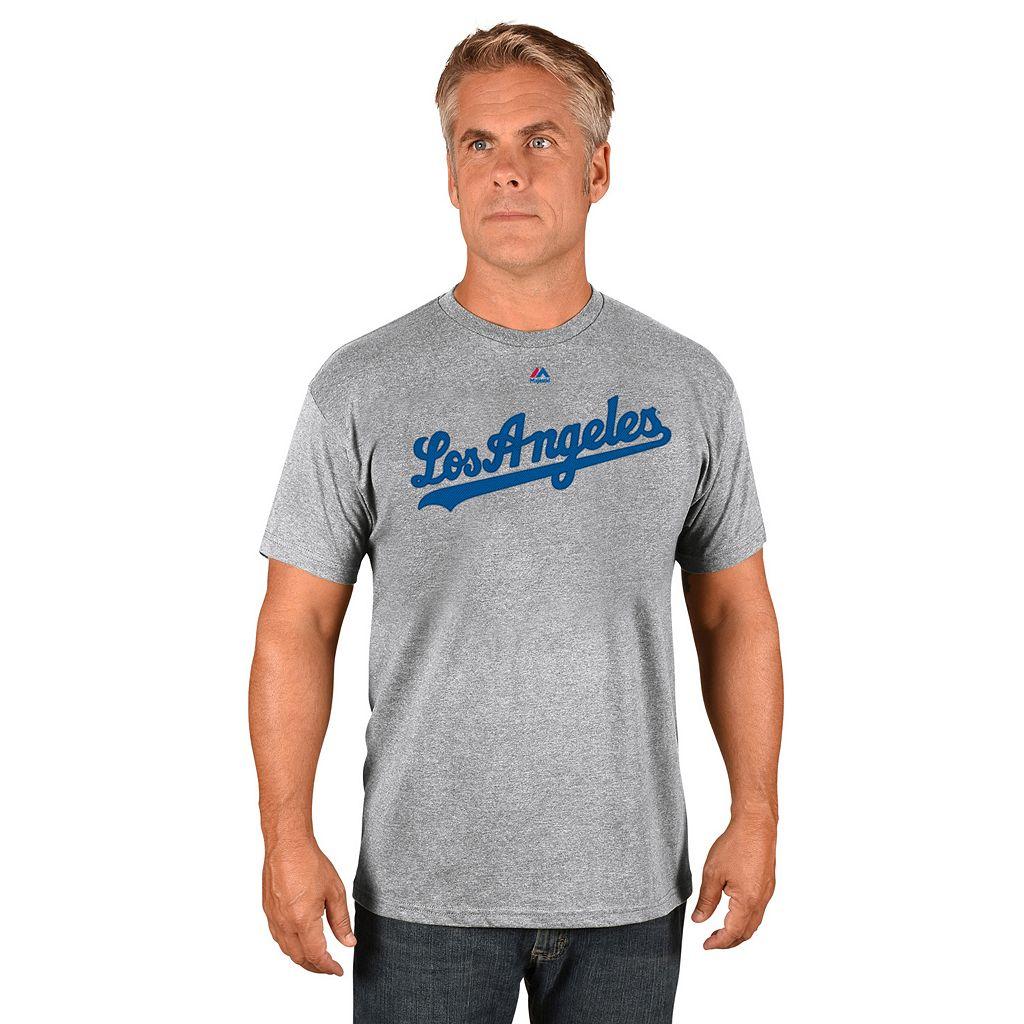 Men's Majestic Los Angeles Dodgers Road Wordmark Tee