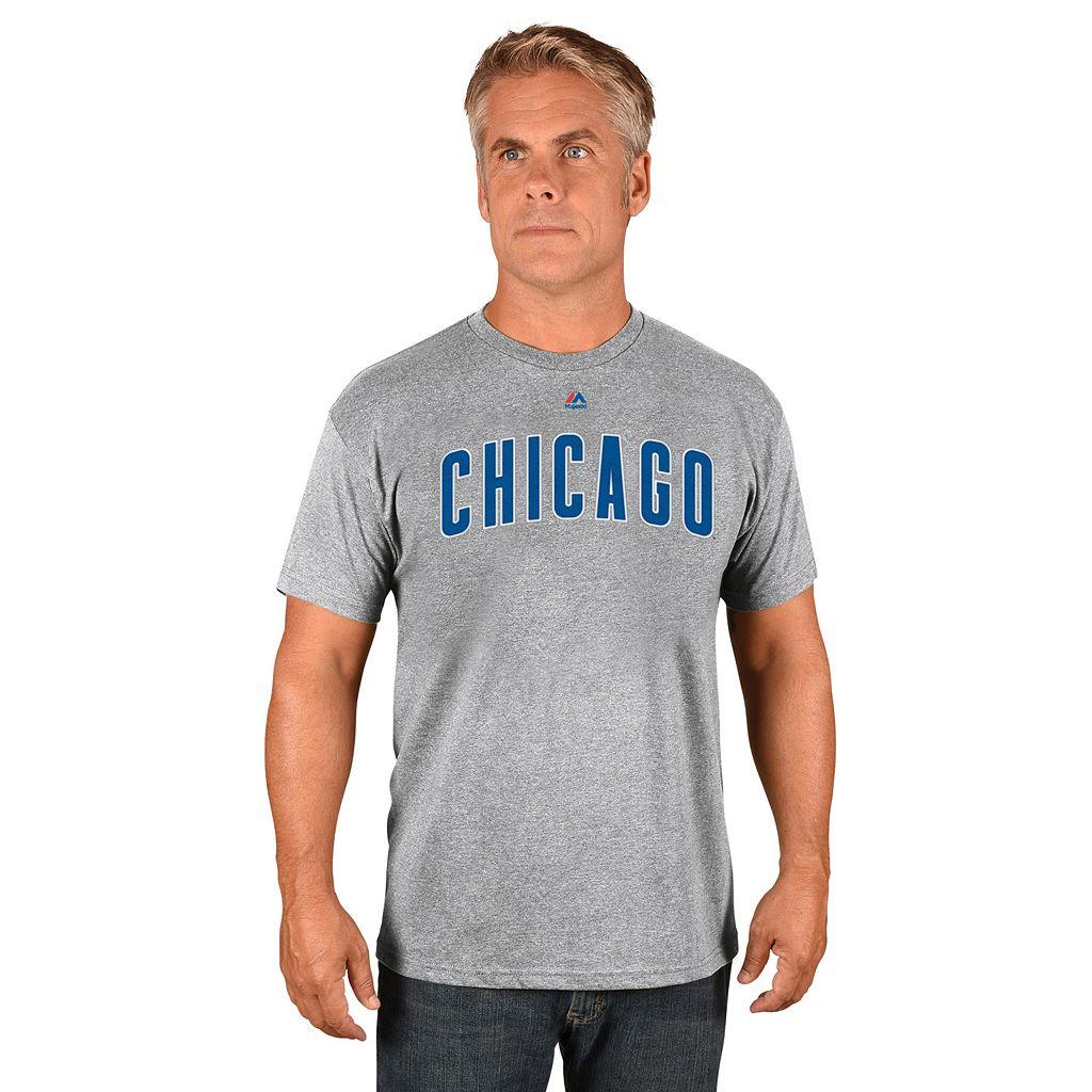 Men's Majestic Chicago Cubs Road Wordmark Tee