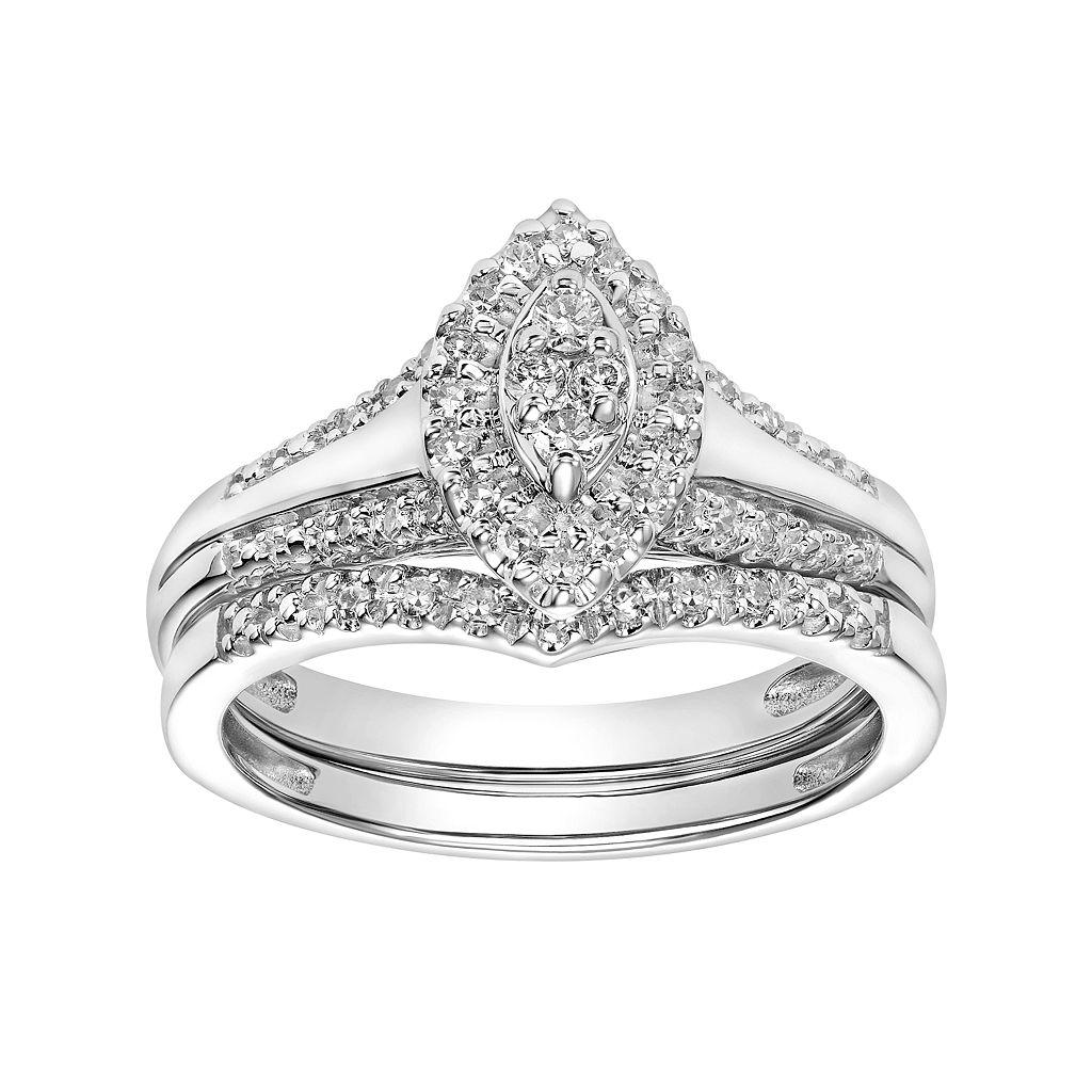 Cherish Always 10k White Gold 1/4 Carat T.W. Diamond Marquise Engagement Ring Set