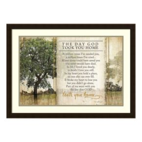 Took You Home Remembrance Prayer Framed Wall Art