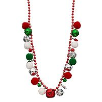 Jingle Bell & Pom Pom Beaded Necklace