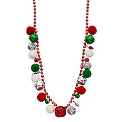 Jingle Bell & Pom Pom Beaded Necklace