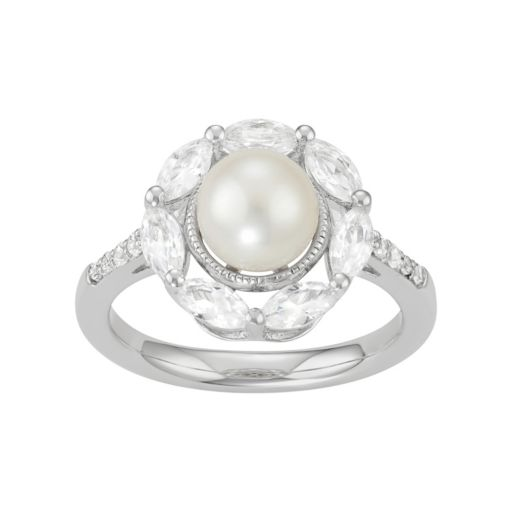 Sterling Silver Freshwater Cultured Pearl & Lab-Created White Sapphire Halo Ring
