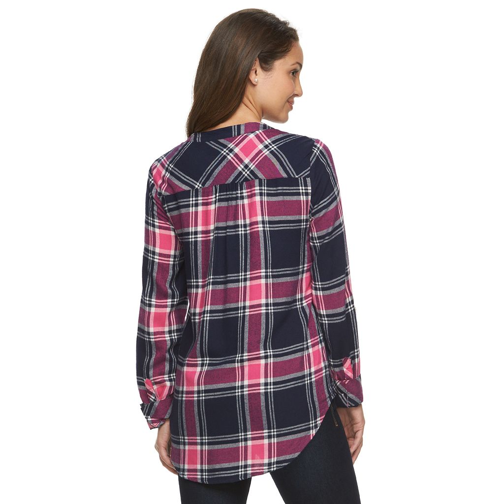 Petite Croft & Barrow® Plaid Roll-Tab Tunic