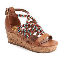 SO® Girls' Beaded Wedge Sandals