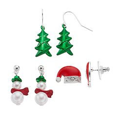 Snowman, Santa Hat & Christmas Tree Drop Earring Set