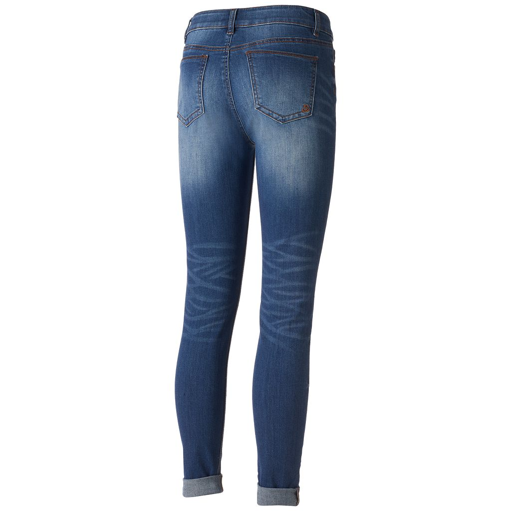 Juniors' Indigo Rein Faded Ripped Ankle Skinny Jeans