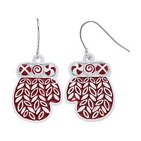Red Mitten Nickel Free Drop Earrings