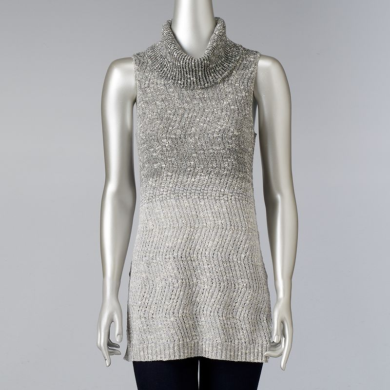 Women's Simply Vera Vera Wang Ombre Cowlneck Sweater, Size: Xl, Grey Other