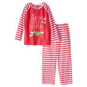 "Girls 4-12 Shopkins Sneaky Wedge, Apple Blossom & Lippy Lips ""Santa's Little Helper"" Holiday Pajama Set"