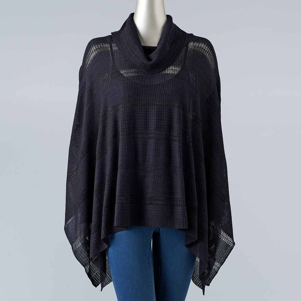 Women's Simply Vera Vera Wang Draped Poncho Sweater