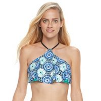 Mix and Match Medallion Flounce High-Neck Bikini Top