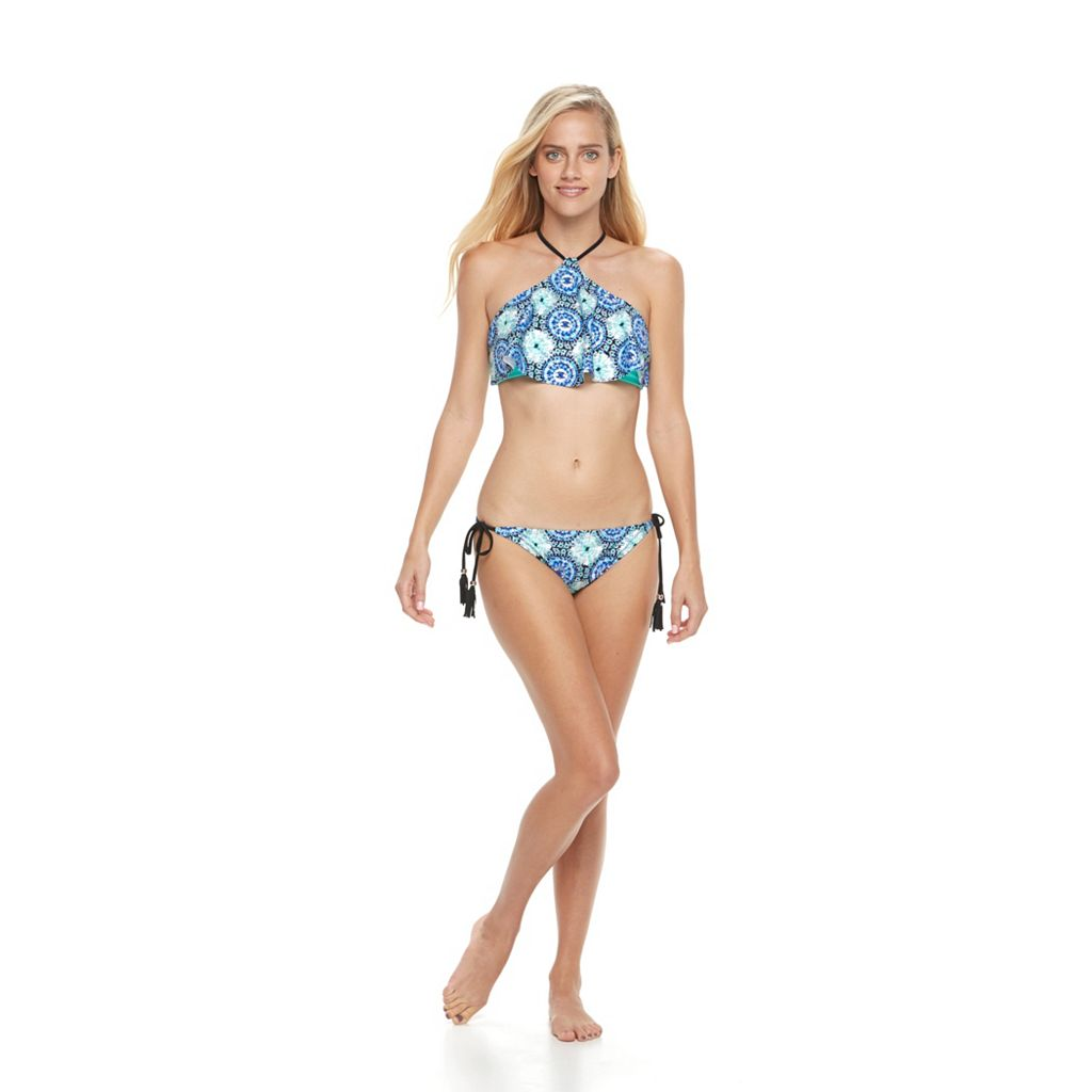 Mix and Match Medallion Flounce High-Neck Bikini Top