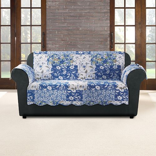 Sure Fit Heirloom Bluebell Floral Loveseat Slipcover